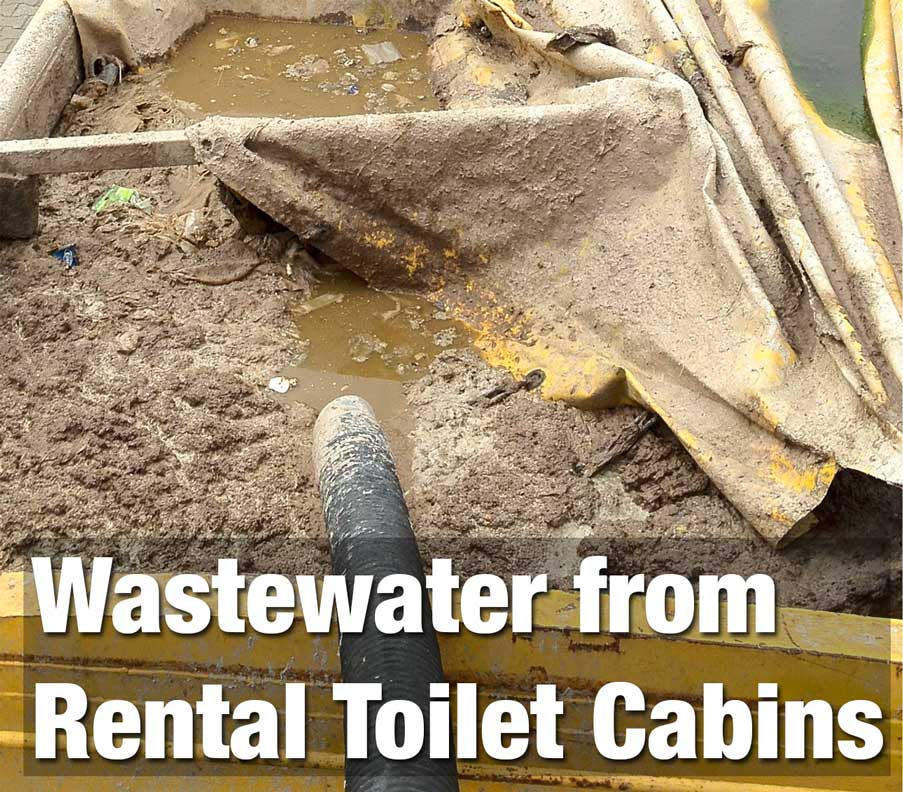Wastewater from rental toilet cabins
